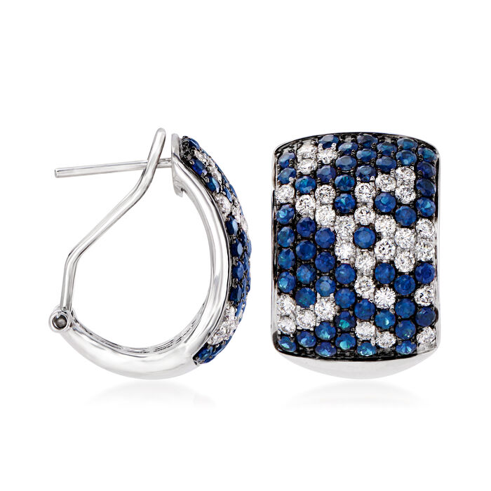 3.90 ct. t.w. Sapphire and 1.80 ct. t.w. Diamond Earrings in 14kt White Gold