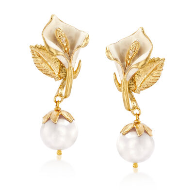 Italian Cultured Pearl and White Enamel Calla Lily Drop Earrings in 18kt Gold Over Sterling, , default