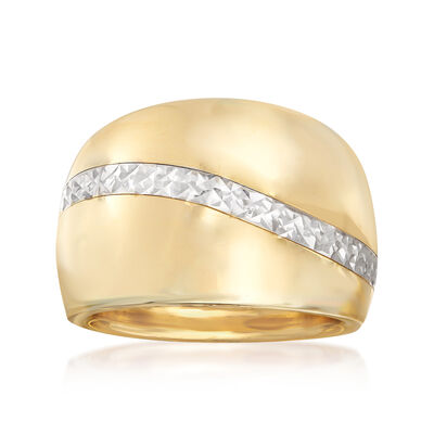 Italian 14kt Two-Tone Gold Dome Ring, , default
