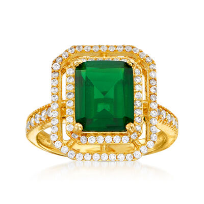 4.25 Carat Simulated Emerald and .40 ct. t.w. CZ Ring in 18kt Gold Over Sterling
