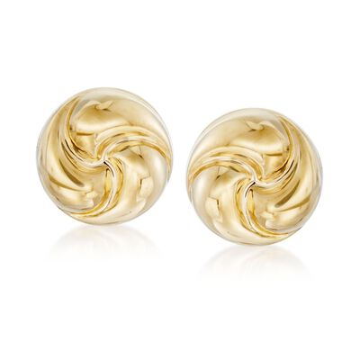 Italian 18kt Yellow Gold Rosetta Love Knot Stud Earrings, , default