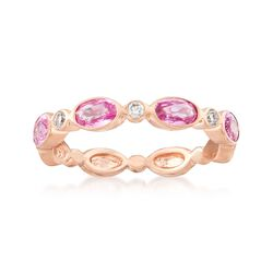 1.20 ct. t.w. Pink Sapphire and Diamond Accent Ring in 14kt Rose Gold. Size 7, , default