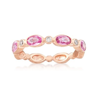 1.20 ct. t.w. Pink Sapphire and Diamond Accent Ring in 14kt Rose Gold, , default