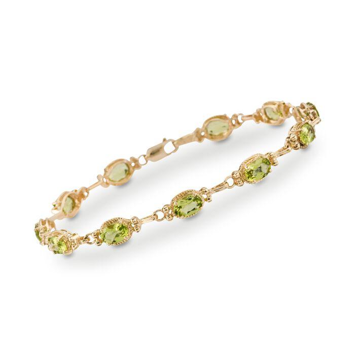 5.50 ct. t.w. Peridot Bracelet in 14kt Yellow Gold