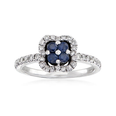 C. 1980 Vintage .60 ct. t.w. Diamond and .40 ct. t.w. Sapphire Floral Ring in 18kt White Gold