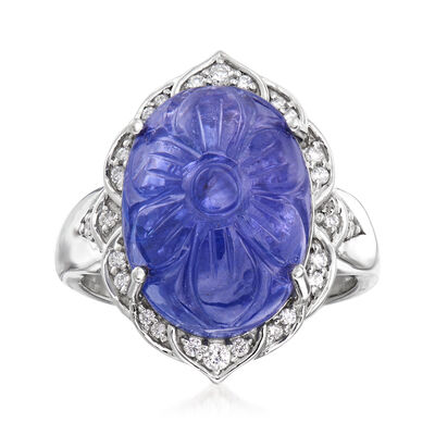 13.50 Carat Tanzanite and .15 ct. t.w. Diamond Ring in 18kt White Gold
