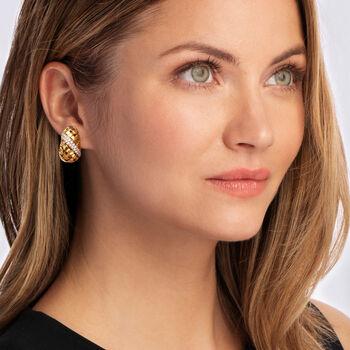 C. 1980 Vintage Tiffany Jewelry 1.10 ct. t.w. Diamond Basketweave Clip-On Earrings in 18kt Yellow Gold