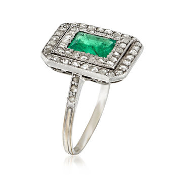 C. 1930 Vintage .65 Carat Emerald and .50 ct. t.w. Diamond Ring in 18kt White Gold. Size 4.25, , default