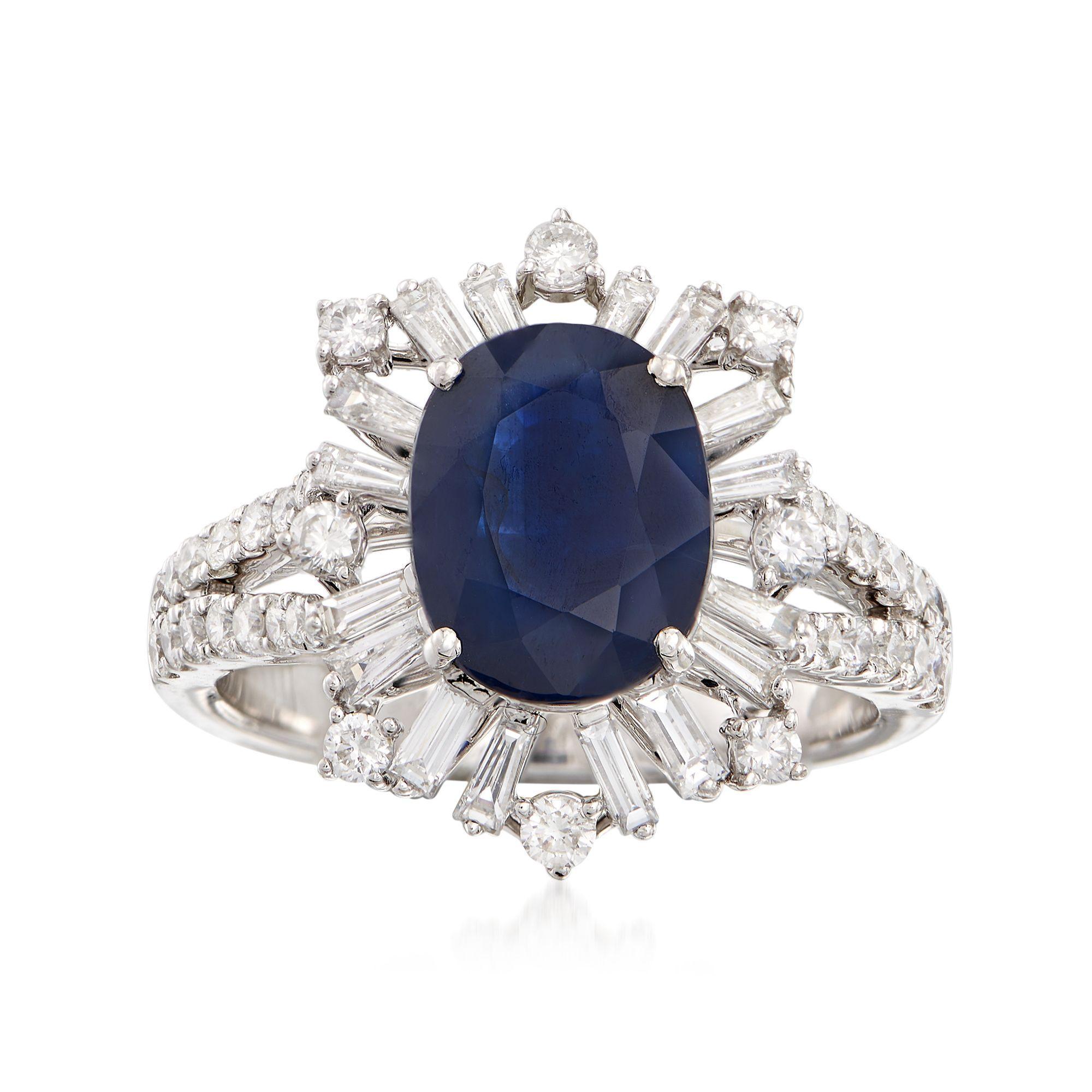 14 kt White Gold Princess Cut 2.75 ct Blue Sapphire Earrings