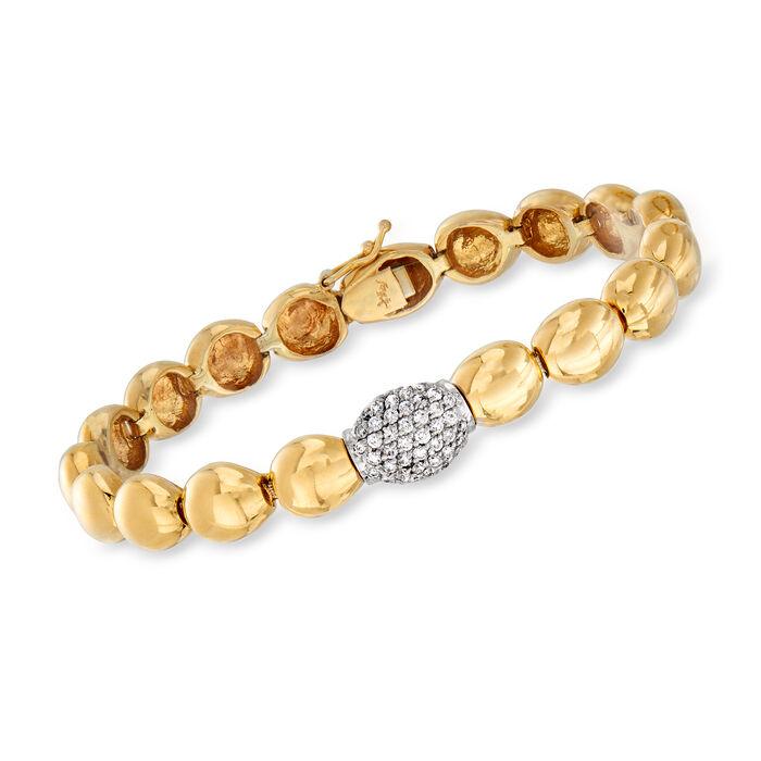 "C. 1980 Vintage .65 ct. t.w. Diamond Round-Link Bracelet in 14kt Two-Tone Gold. 7.5"", , default"
