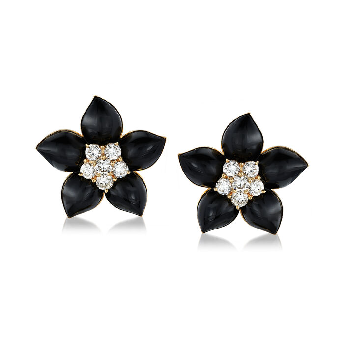 C. 1970 Vintage Black Onyx and 2.35 ct. t.w. Diamond Flower Earrings in 18kt Yellow Gold, , default