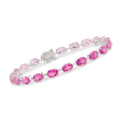15.00 ct. t.w. Pink Topaz Bracelet in 14kt White Gold, , default