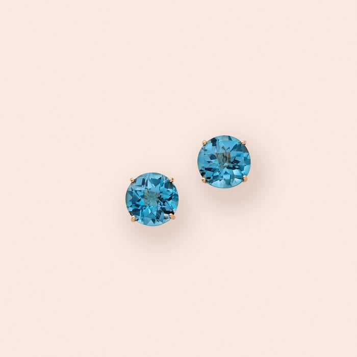 4.50 ct. t.w. London Blue Topaz Stud Earrings in 14kt Yellow Gold