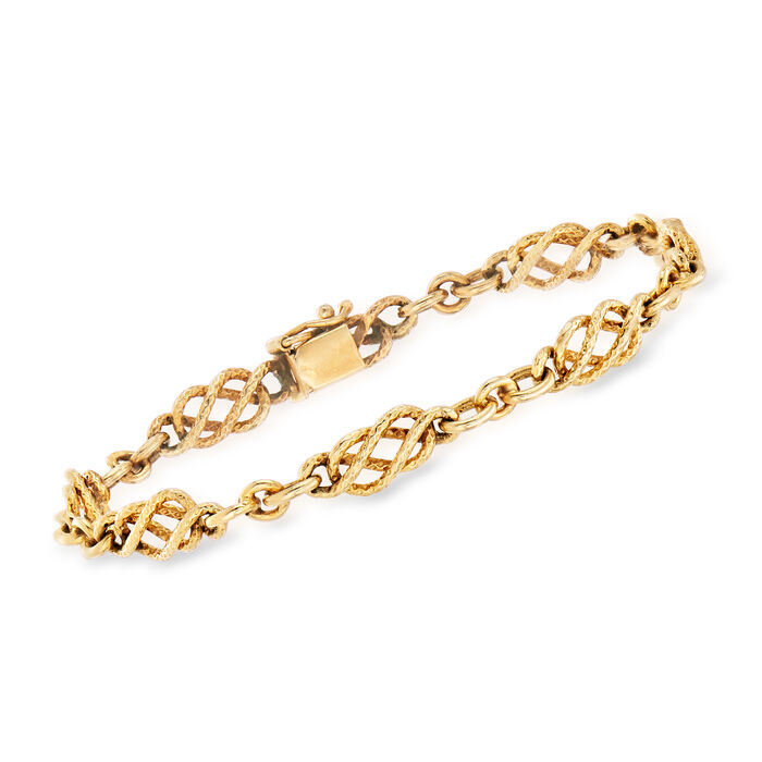 "C. 1980 Vintage 14kt Yellow Gold Infinity-Link Bracelet. 7"""