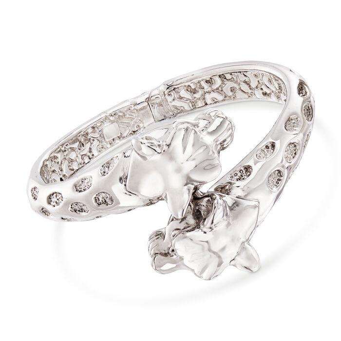 Italian Leopard Bypass Bangle Bracelet in Sterling Silver, , default