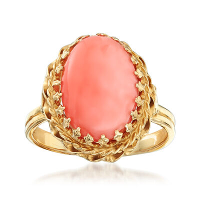 C. 1970 Vintage 14.5x10mm Coral Ring in 14kt Yellow Gold, , default