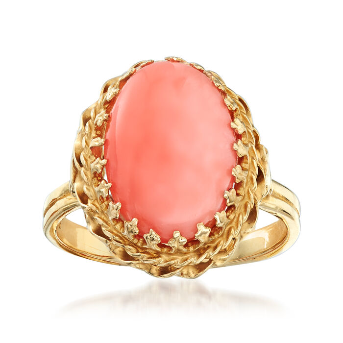 C. 1970 Vintage 14.5x10mm Coral Ring in 14kt Yellow Gold. Size 6.75, , default