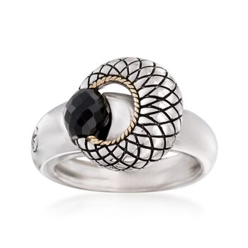 Andrea Candela Black Onyx Ring in Sterling Silver and 18kt Gold. Size 7, , default