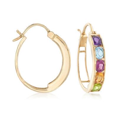 3.90 ct. t.w. Channel-Set Multi-Stone Hoop Earrings, , default