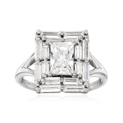 2.25 ct. t.w. CZ Frame Ring in Sterling Silver
