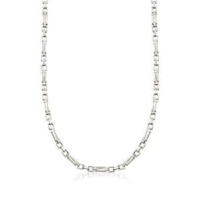 C. 2000 Vintage Men's Platinum Block Link Chain Necklace, , default