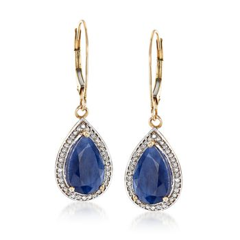 "5.00 ct. t.w. Sapphire and .21 ct. t.w. Diamond Drop Earrings in 14kt Yellow Gold. 1 1/4"", , default"