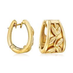 """C. 1900 Vintage 18kt Yellow Gold Leaf-Motif Hoop Earrings. 3/4"""", , default"""