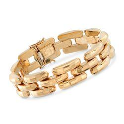 """C. 1990 Vintage 14kt Yellow Gold Panther-Link Bracelet. 7"""", , default"""