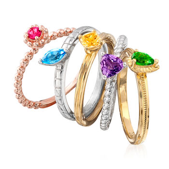 1.09 ct. t.w. Multi-Gemstone Stackable Jewelry Set: Five Rings in Sterling Silver and 18kt Yellow, White and Rose Gold Over Sterling, , default