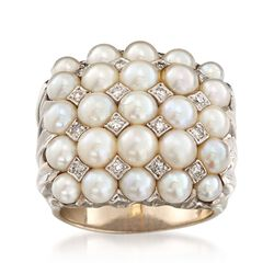 C. 1960 Vintage 3.5-4.5mm Cultured Pearl and .20 ct. t.w. Diamond Cluster Ring in 14kt White Gold. Size 7, , default