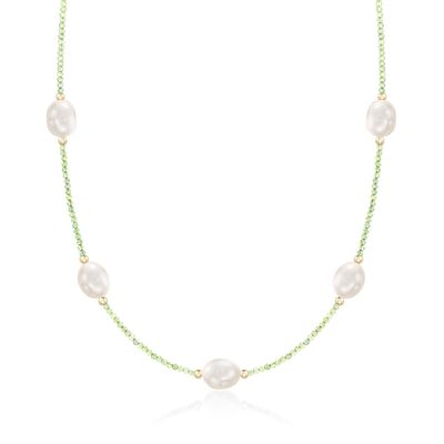 10-10.5mm Cultured Pearl and 12.00 ct. t.w. Peridot Bead Station Necklace with 14kt Gold, , default