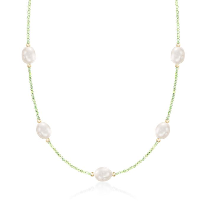"""10-10.5mm Cultured Pearl and 12.00 ct. t.w. Peridot Bead Station Necklace with 14kt Gold. 18"""", , default"""
