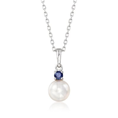 "Mikimoto ""Everyday Essentials"" 7.5-8mm A+ Akoya Pearl and .13 Carat Sapphire Pendant Necklace in 18kt White Gold, , default"