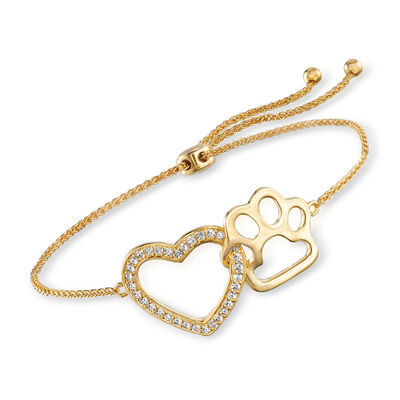 .20 ct. t.w. White Topaz Heart and Paw Bolo Bracelet in 18kt Gold Over Sterling, , default
