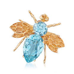 C. 1990 Vintage 4.20 ct. t.w. Blue Topaz Bee Pin in 14kt Yellow Gold, , default