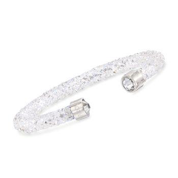 "Swarovski Crystal ""Dust"" White Crystal Cuff Bracelet in Stainless Steel. 7"", , default"