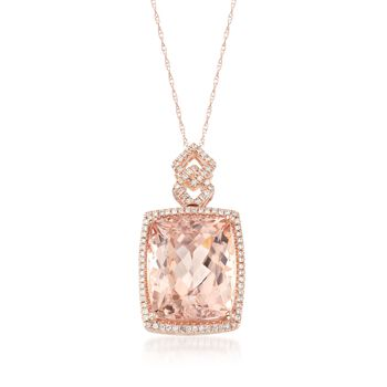 """12.00 Carat Morganite and .25 ct. t.w. Diamond Pendant Necklace in 14kt Rose Gold. 18"""", , default"""