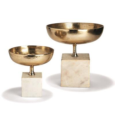 Set of 2 Decorative Chalice Bowl Sculptures