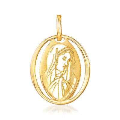 Italian 18kt Yellow Gold Holy Mary Pendant , , default