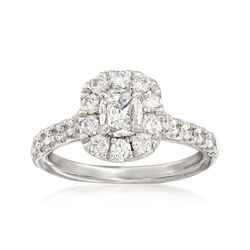 Henri Daussi 1.50 ct. t.w. Diamond Halo Engagement Ring in 18kt White Gold  , , default