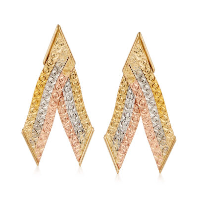 C. 1990 Vintage 14kt Tri-Colored Gold Fan Earrings, , default