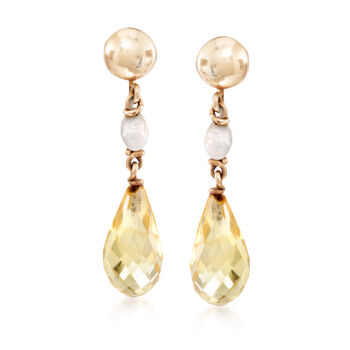 C. 1960 Vintage 4mm Cultured Pearl and 6.00 ct. t.w. Citrine Drop Earrings in 14kt Yellow Gold, , default