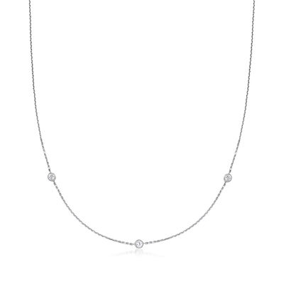C. 1990 Vintage .36 ct. t.w. Diamond Station Necklace in 14kt White Gold