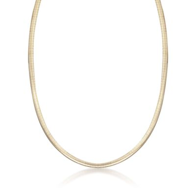 Italian 4mm Two-Tone Sterling Silver Reversible Omega Necklace, , default