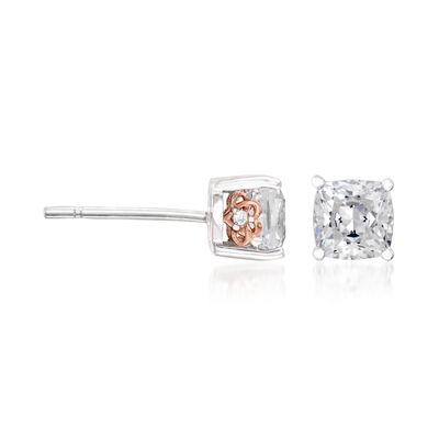 1.01 ct. t.w. CZ Stud Earrings in Sterling Silver, , default