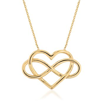 14kt Yellow Gold Open Infinity Symbol and Heart Necklace, , default