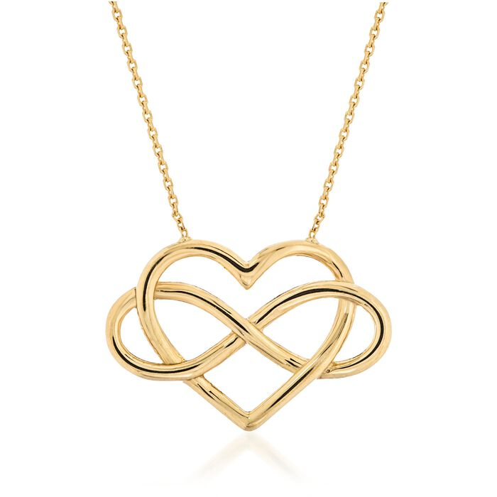 "14kt Yellow Gold Open Infinity Symbol and Heart Necklace. 16"", , default"