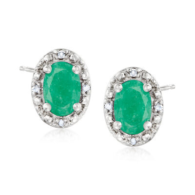 .90 ct. t.w. Emerald Stud Earrings with Diamond Accents in Sterling Silver