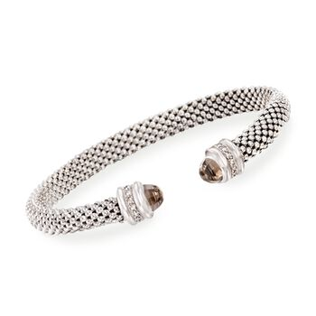 "Phillip Gavriel ""Popcorn"" .40 ct. t.w. Smoky Quartz and .14 ct. t.w. Diamond Cuff Bracelet in Sterling Silver. 7"", , default"