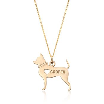"""18kt Yellow Gold Over Sterling Silver Chihuahua Name Pendant Necklace. 18"""", , default"""